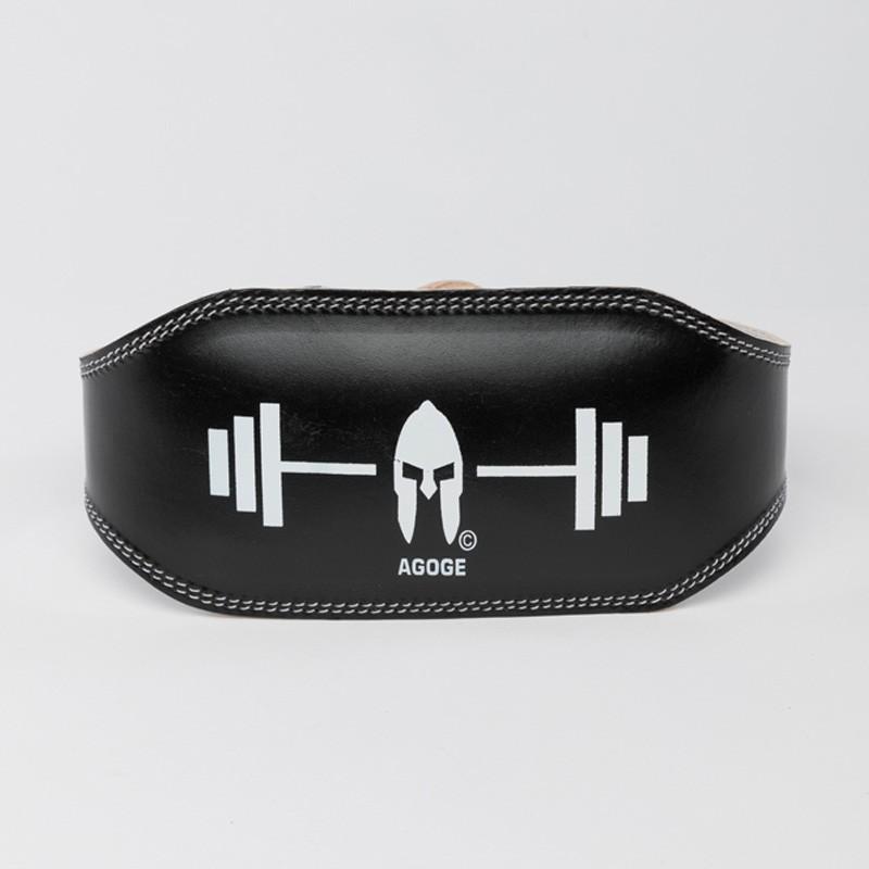 AGOGE Gewichtheber-Gürtel Leder schwarz
