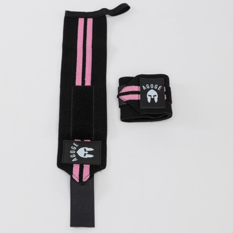 AGOGE Wrist Wraps - Handgelenk-Bandage schwarz mit pinken Streifen